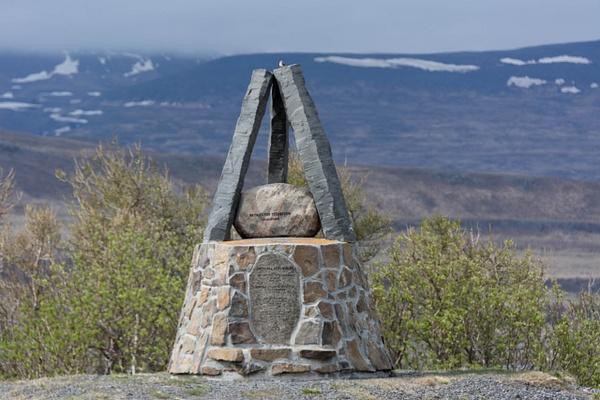 Memorial near the site of the battle of Örlygsstaðir...