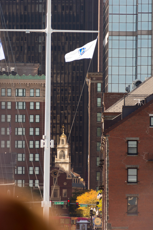 Returning to Long Wharf, the Old State House peeking out through the bigger, newer buildings