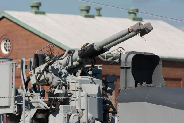 One of the 5 dual 40mm anti-aircraft guns. by Willis...