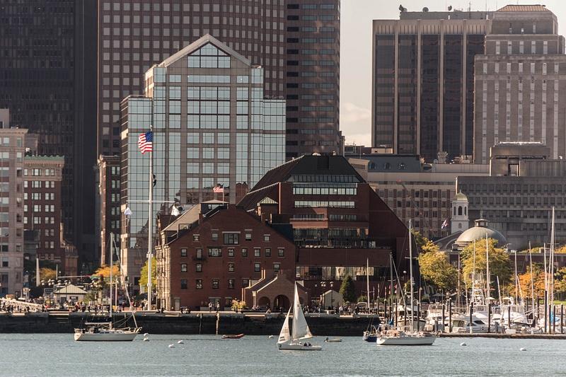 Boston Marriott Long Wharf hotel, next to our pier