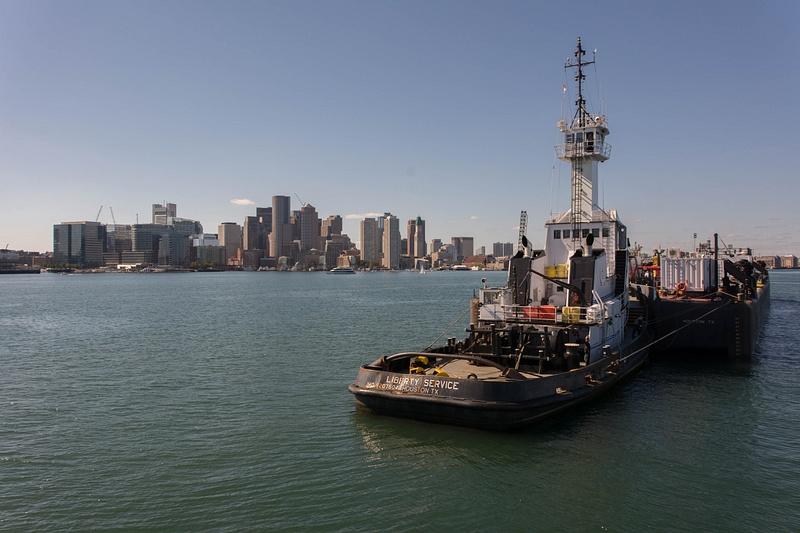 Boston skyline from mid-harbor