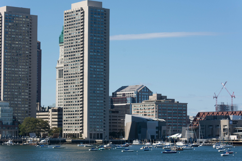 The Custom House  hiding behind one of the Harbor Towers