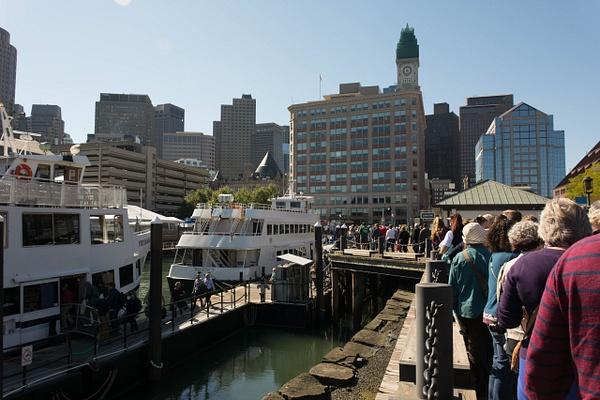 Departing from Long Wharf near the New England Aquarium...
