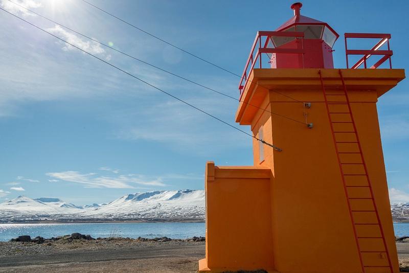 Svalbarðseyri lighthouse, wide angle sun flare perspective