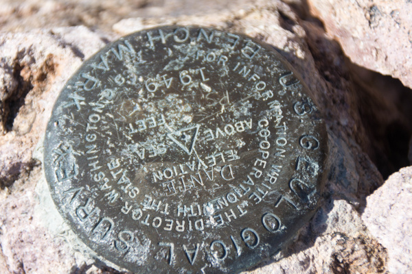 More recent USGS marker by Willis Chung