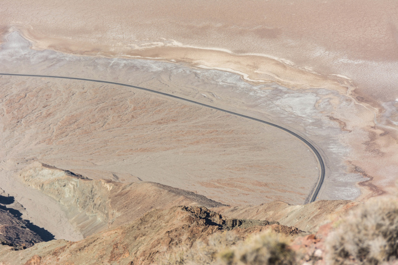 Looking down onto Badwater Road