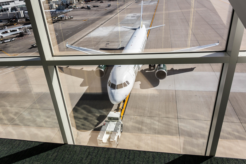 At DIA, walking across the bridge from the Concourse to Terminal A