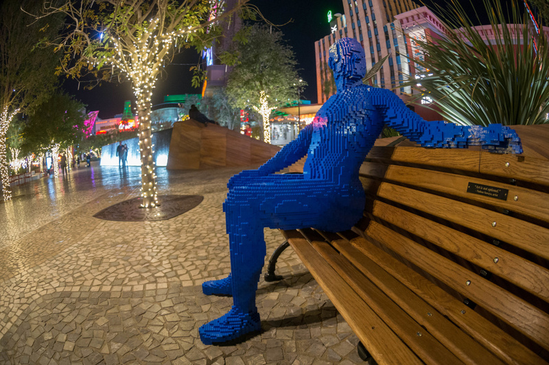 Several Lego people relaxing at The Park on the Strip