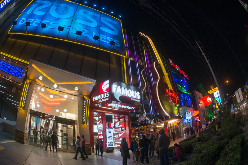 Very flashy neon on the Strip even for the regular stores