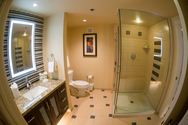 The bathroom in our spectacular room at the Marriott's...