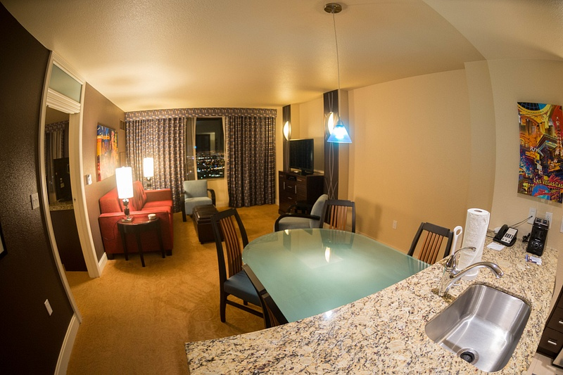The living and dining rooms in our spectacular suite at the Marriott's Grand Chateau!