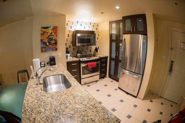 The kitchen in our spectacular suite at the Marriott's...
