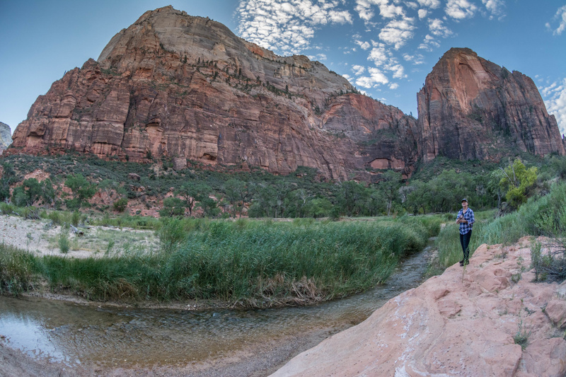 Peggy and I at the banks of the Virgin River in Zion Canyon