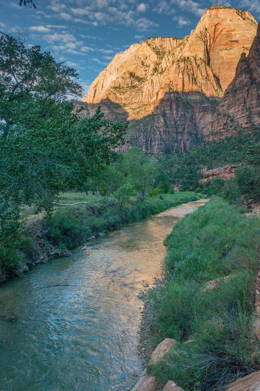 Virgin River at the start of the Angels Landing trail, early morning