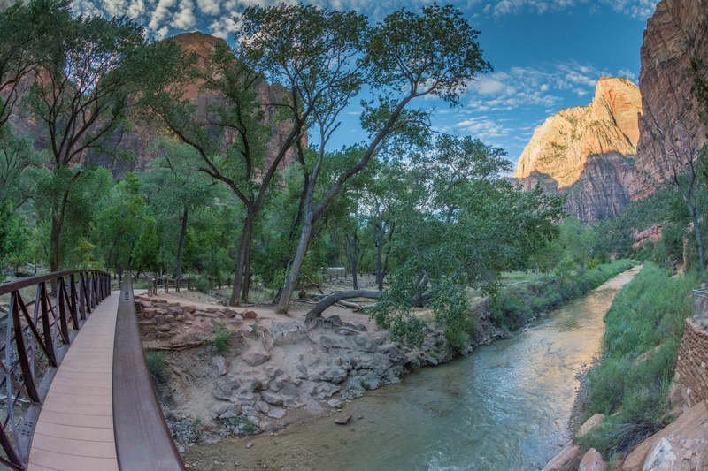 Looking downstream along the Virgin River in Zion Canyon
