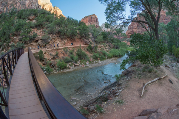 Crossing the Virgin River in Zion Canyon by Willis Chung
