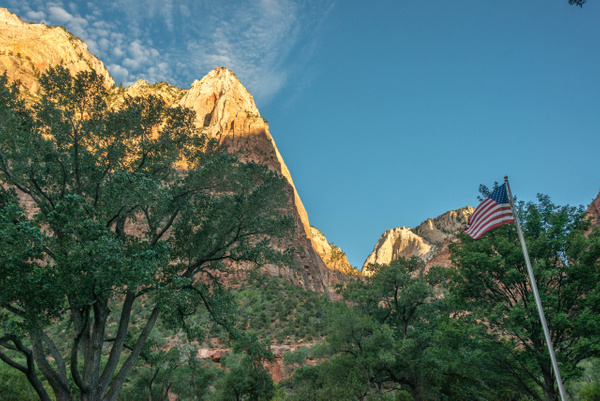 Zion Lodge grounds, looking west, superwide view by...
