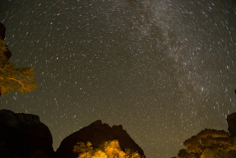 North Star and Milky Way from the floor of Zion Canyon at Zion Lodge