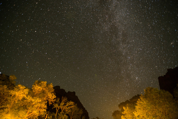 Milky Way from the floor of Zion Canyon at Zion Lodge....