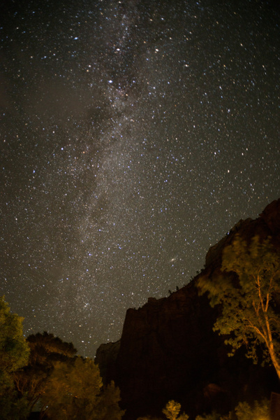 Milky Way from the floor of Zion Canyon at Zion Lodge
