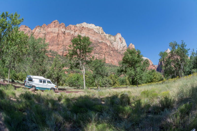 Our Roadtrek posing against the western wall, Zion Canyon.