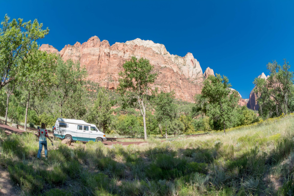 Morning sun on the west wall of Zion Canyon by Willis...