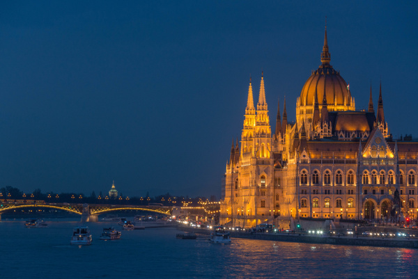 Classic blue hour photo of Országház, Hungarian Parliament Building.