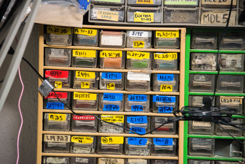 Many spare parts well organized.