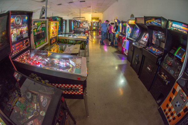 Along the wall there are classic arcade games by Willis...