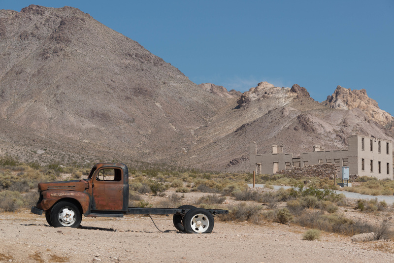 Looking west back towards Rhyolite's main street and the schoolhouse.