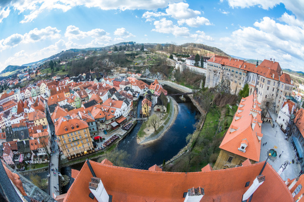 Superwide angle view from the Bell Tower of the western part of the Castle and the southern town.