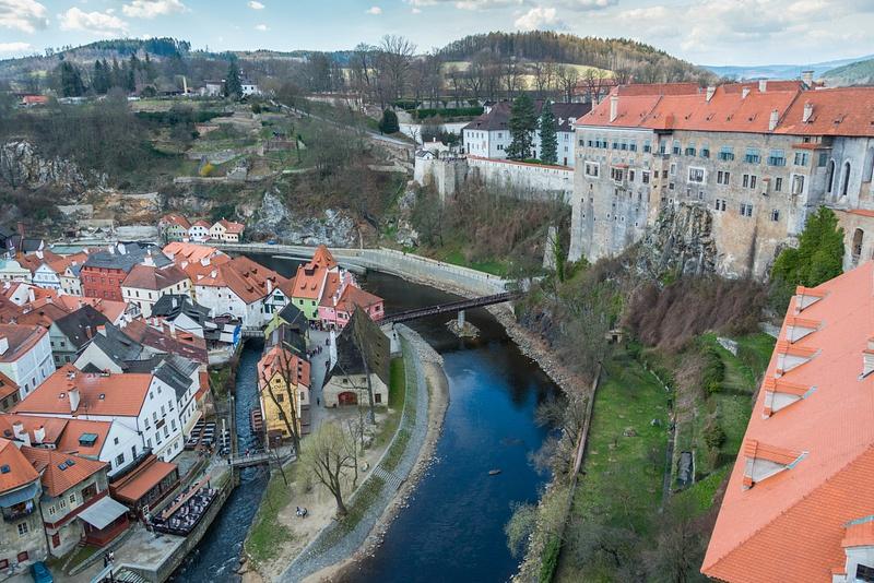 The Upper Castle overlooking  the Vltava River