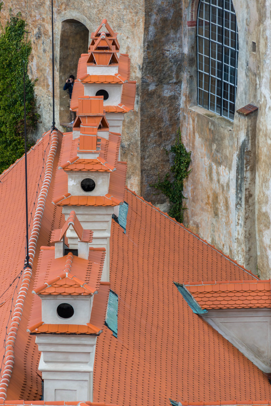 Ornate chimneys along roof of the Old Mint, to the north of the Bell Tower