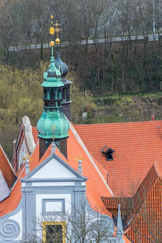 Steeples of Kostel Božího těla, the catholic church to the  northeast
