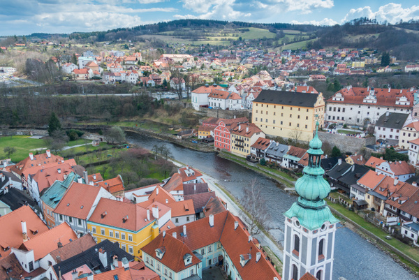 Vltava River and south eastern Český Krumlov. St. Jost...