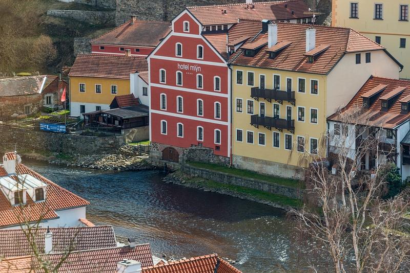 Hotel Mlýn along the south bank of the Vltava River