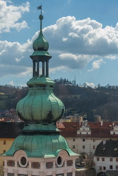 Tower of St. Jost Church to the south with křížová...