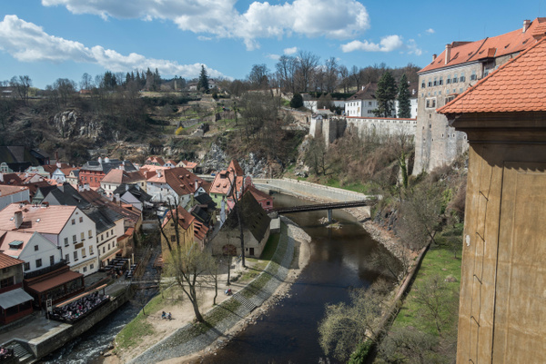 Looking southwest along the Vltava River. Upper Castle...
