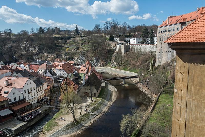 Looking southwest along the Vltava River. Upper Castle along the north bank.