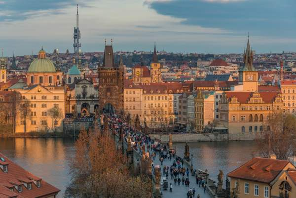 Sunset lighting Old Town and the Charles Bridge, Praha, Czechia.
