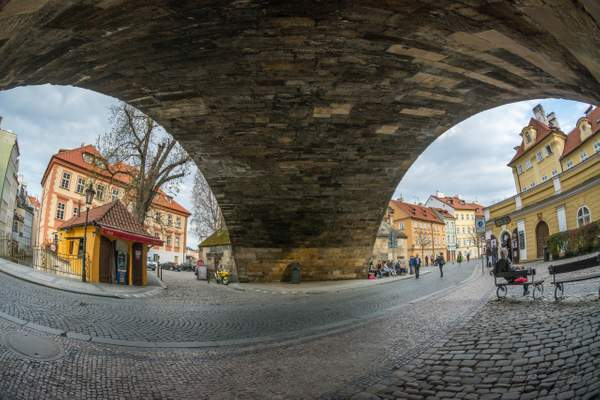 Na Kampě, running under the Lesser Quarter side of the Charles Bridge.