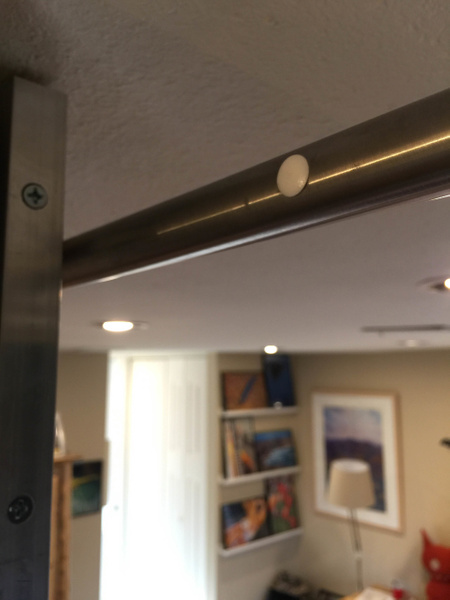 Bracket holes in back side of rail filled with 3/8 inch...