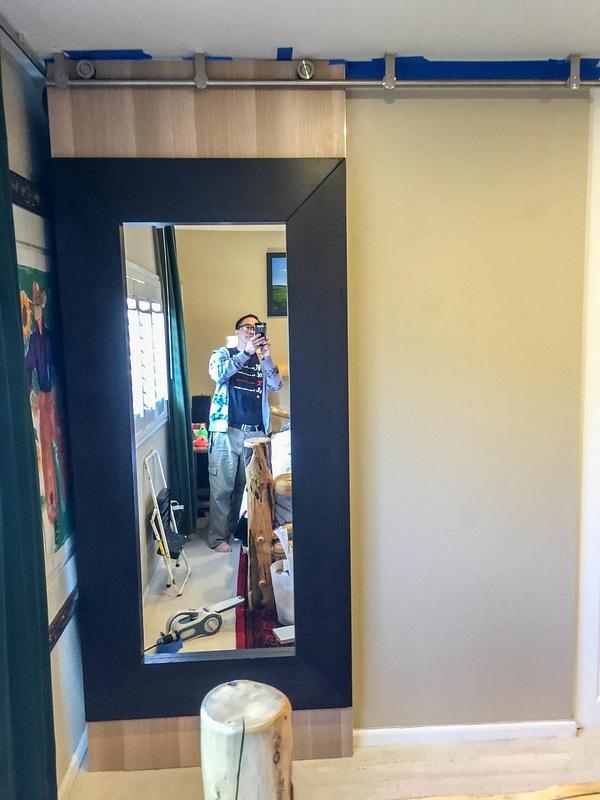 Door slid shut, even gaps at ceiling and floor.