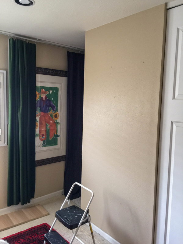 Wall ready to patch and paint. I am leaving the IKEA curtain rail and painting in place.