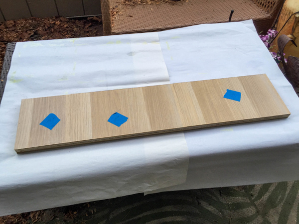 Footer panel with veneer glued on. by Willis Chung