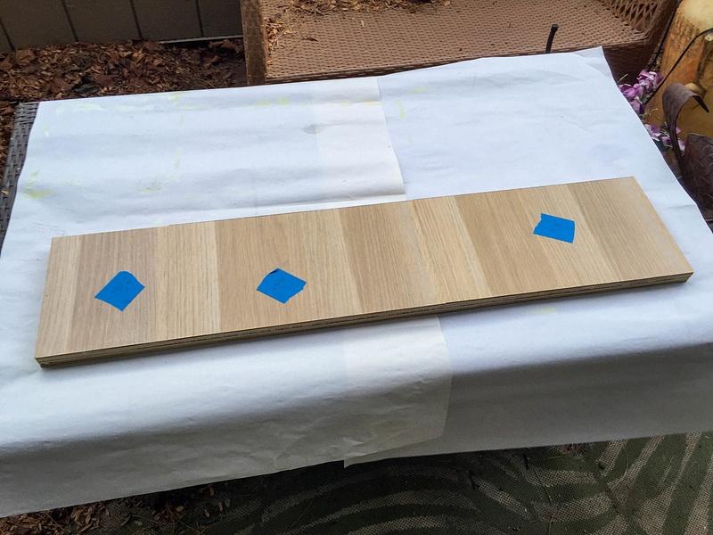 Footer panel with veneer glued on.