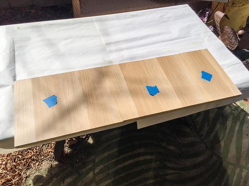 Askvoll veneer panels glued on.  I used an orbital sander to remove excess veneer.