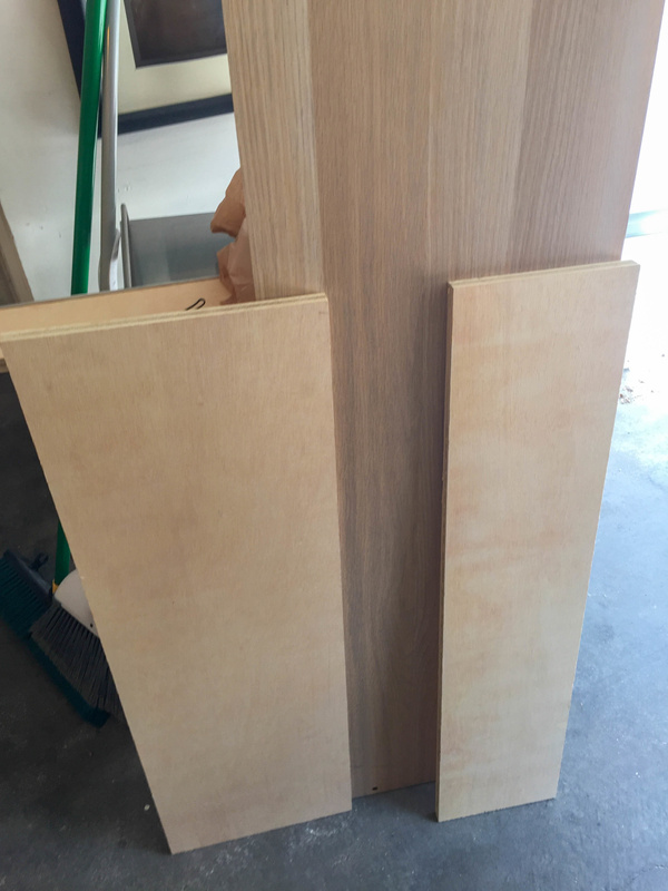 Header and footer panels of 5/8 inch interior plywood. White Oak back panel from Askvoll wardrobe.