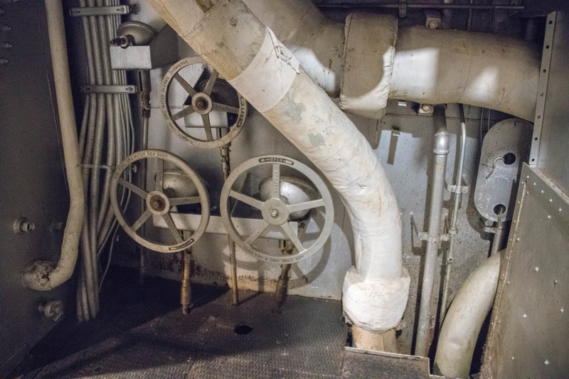 Giant wheels for the valves controlling water flow into the condensors to recover the steam.