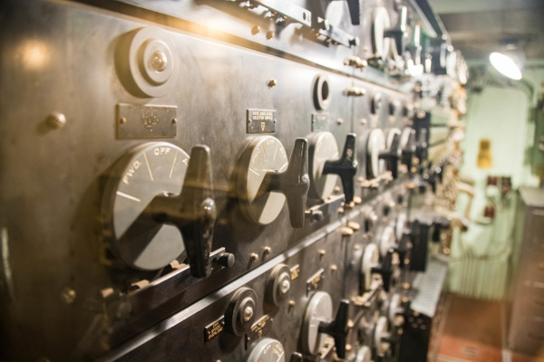 Inside the USS Massachusetts, a large electrical switch...